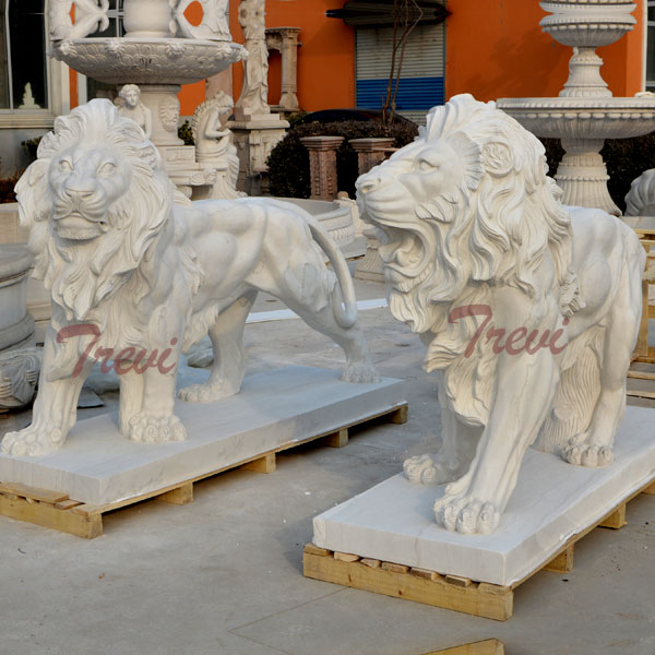A pair chinese marble standing lion sculpture for guarding entrance TMA-08