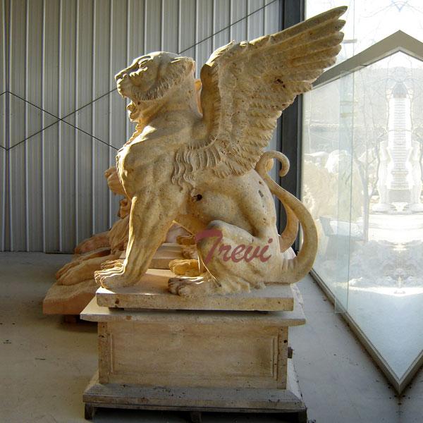 Antique marble stone gargoyle garden statues for driveway TMA-22