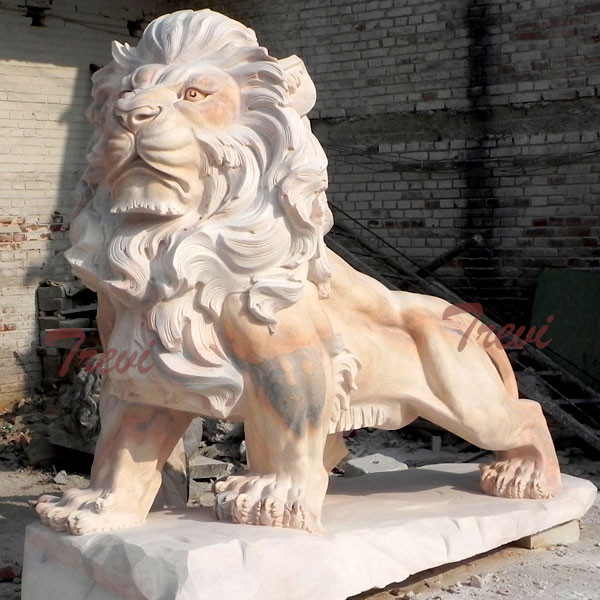 Big chinese marble lion life size in front of house outdoor TMA-15