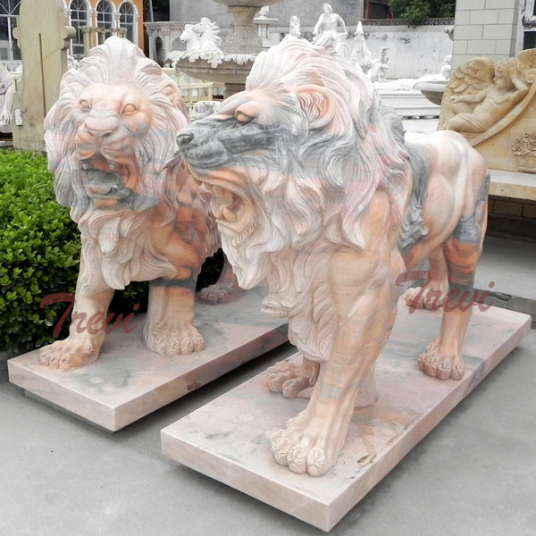 Buy a pair roaring lion sculpture in front of house decor TMA-14