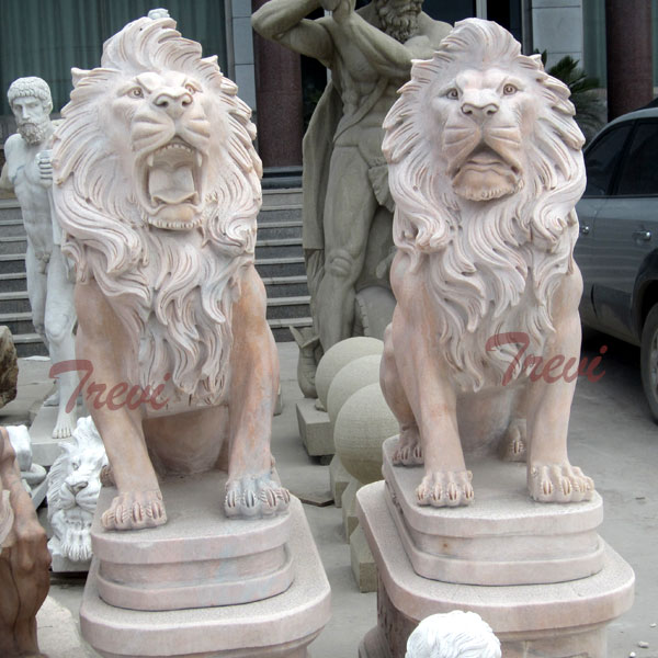 Chinese marble guardian sitting roaring lion statues pair TMA-16