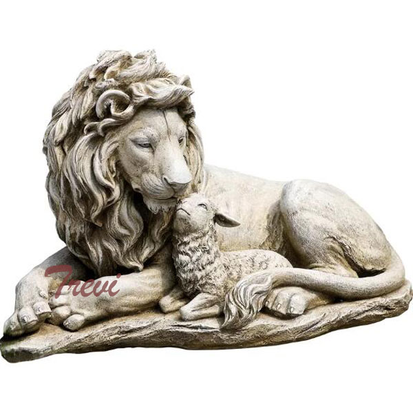 Chinese marble lion and lamb statues outdoor garden decor TMA-35