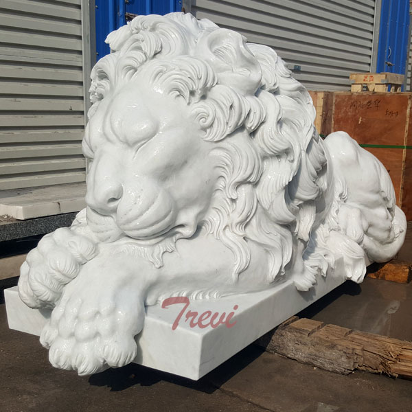 Life size white sleeping lion statue for house TMA-01