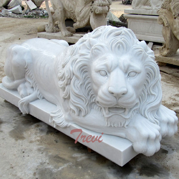 Lying life size stone lion garden statues for sale TMA-02