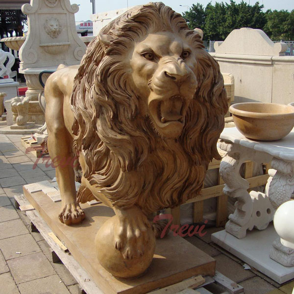 Outdoor stone garden standing lion statue with ball for sale TMA-06