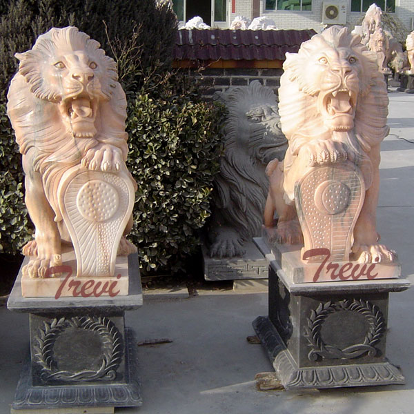 Pair of life size stone lion statue with shield for house TMA-29