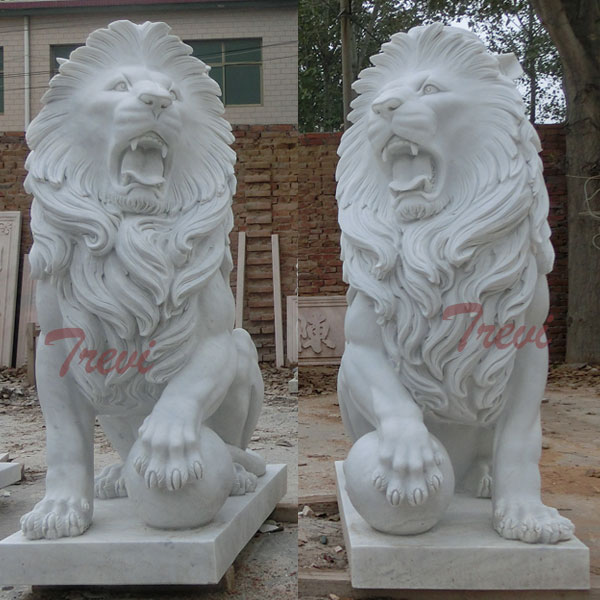 White marble sitting lion with paw on ball for front porch TMA-12