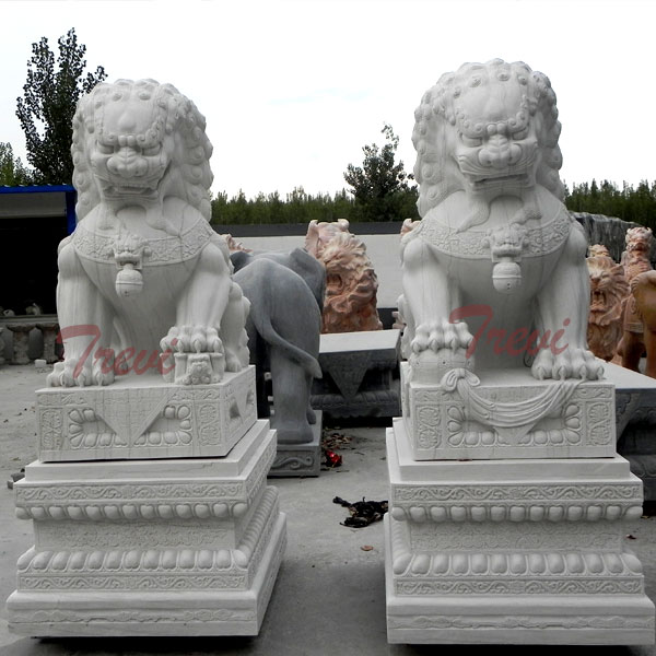 Where to buy chinese fu dog white marble garden statues for sale TMA-94