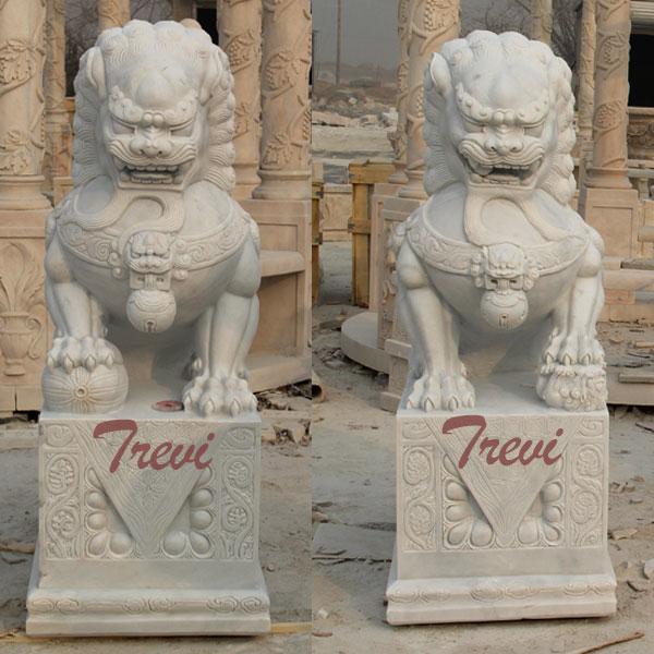 White marble Chinese dog lion pairs animal art decor for backyard TMA-93