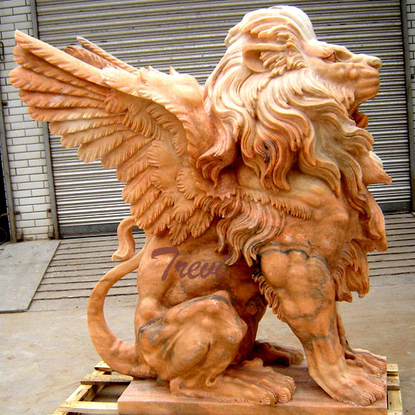 TMA-25 Outdoor stone winged lion guardian sculpture gargoyle garden statues for sale