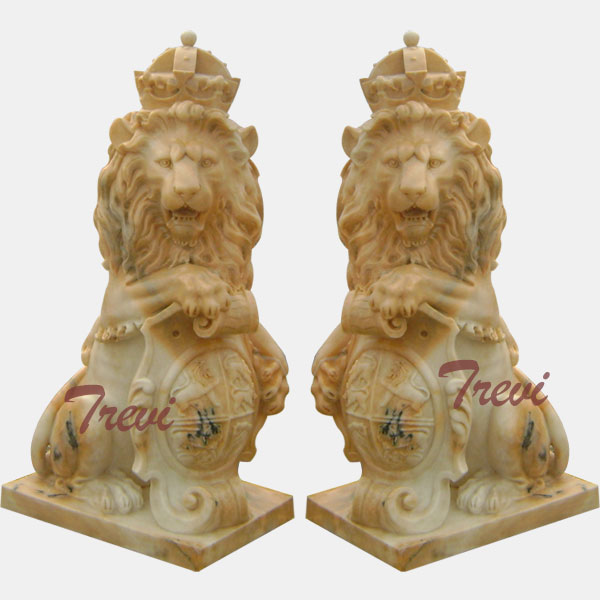 Pair of sitting crown marble lions statue with shield for driveway  TMA-33