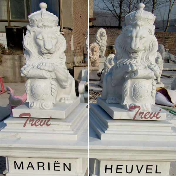 TMA-34 Pair of white marble king lion statue with shield and crown in front door